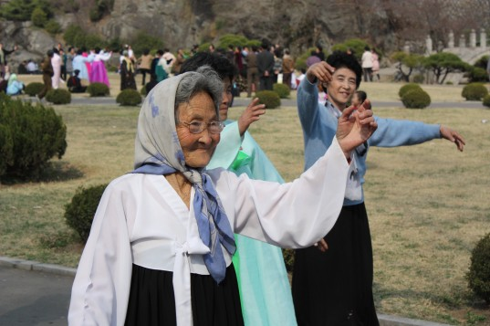 Old ladies in the park dancing